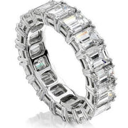 6.00 Ct. Emerald Cut Diamond Eternity Ring Classic Four Prong F-G Color VS1 Clarity