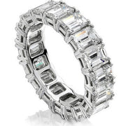 7.00 Ct. Emerald Cut Diamond Eternity Ring Classic Four Prong F-G Color VS1 Clarity