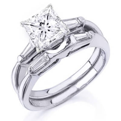 1.35 Ct. Princess Cut Diamond Bridal Set