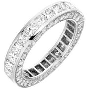 Princess Cut eternity diamond ring, Princess eternity wedding band