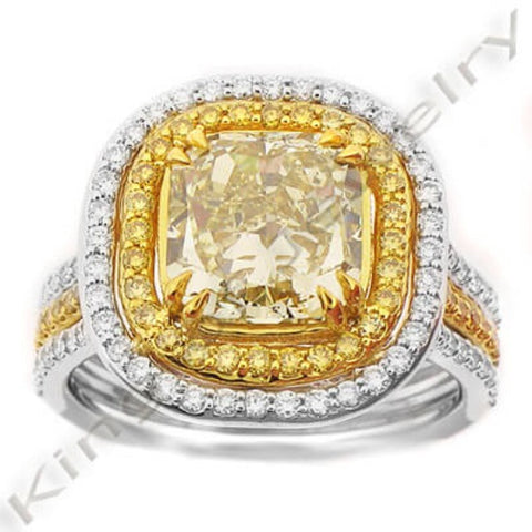 3.92 Ct. Canary Fancy Yellow Diamond Engagement Ring ( GIA Certified )