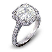 HALO Asscher Cut Diamond Engagement Ring (GIA Certified)
