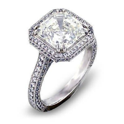 2.99 Ct. Halo Asscher Cut Diamond Engagement Ring G Color VS1 GIA Certified