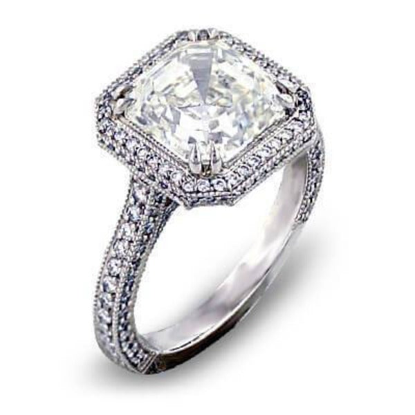 Micro Pave Halo Asscher Cut Diamond Ring I Color VS1 GIA Certified