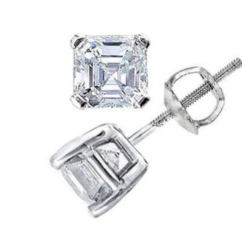 0.90 Ct. Asscher Cut Diamond Stud Earrings