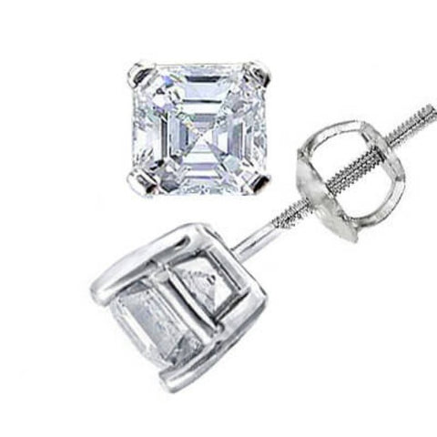1.00 Ct. Asscher Cut Diamond Stud Earrings