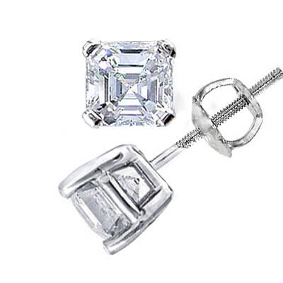 1.52 Ct. Asscher Cut Diamond Stud Earrings