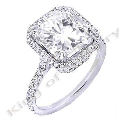 3.09 Ct. Radiant Cut Diamond Engagement Ring