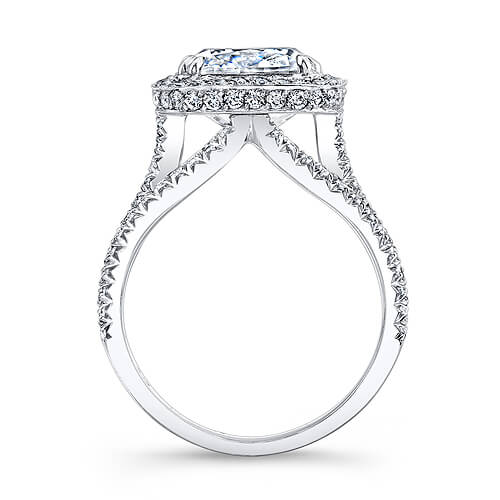 3.31 Ct. Halo Princess Cut French & Micro Pave Diamond Engagement Ring GIA I,VS2
