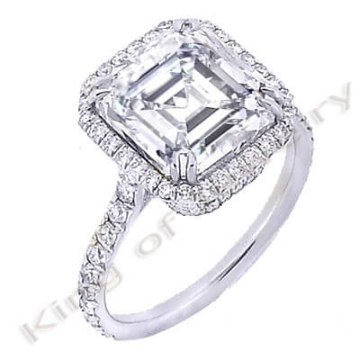 3.07 Ct. Asscher Cut Diamond Engagement Ring (GIA Certified)
