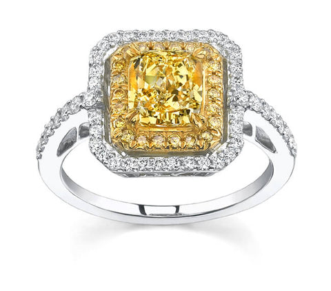 2.12 Ct Canary Radiant Cut Diamond Engagement Ring (EGL Certified)