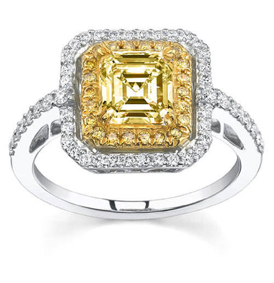 2.29 Ct Canary Asscher Cut Diamond Engagement Ring (GIA Certified)