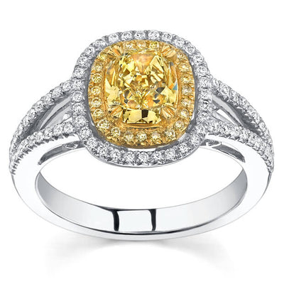 2.07 Ct. Canary Fancy Yellow Cushion Cut Diamond Engagement Ring (GIA Certified)