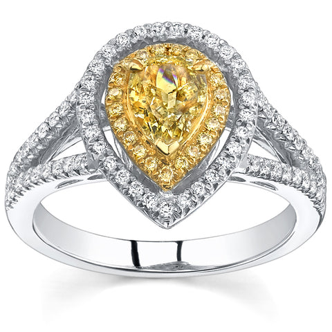2.20 Ct. Canary Fancy Yellow Pear Cut Dual Halo Diamond Engagement Ring VS2 GIA Certified