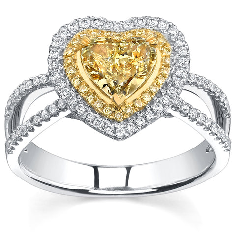 1.70 Ct. Canary Fancy Yellow Heart Shape Halo Diamond Ring VS2 GIA Certified