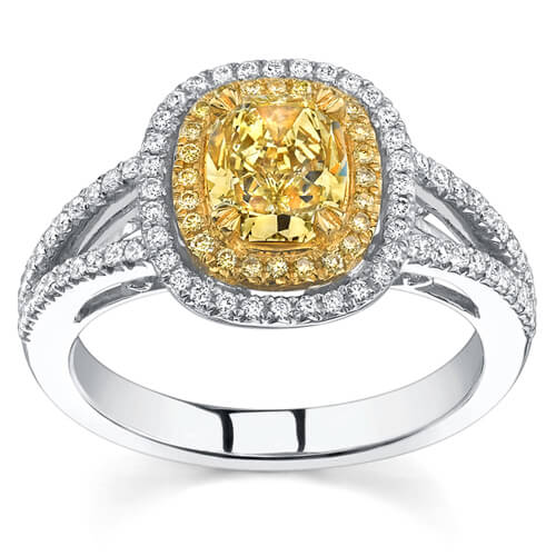2.03 Ct. Canary Fancy Yellow Cushion Cut Diamond Engagement Ring (GIA Certified)