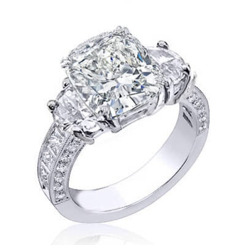 4.11 Ct. Cushion Cut Diamond Engagement Ring (GIA Certified)