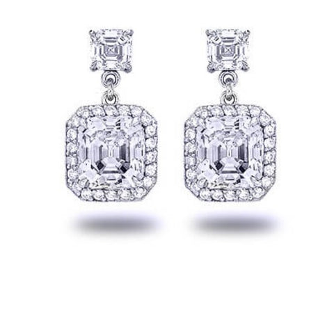 3.26 Ct. Fancy Asscher Cut Dangling Diamond Earrings