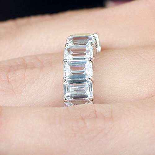10.5 Ct. Emerald Cut Diamond Classic Shared Prong Eternity Ring H Color VS1 Clarity