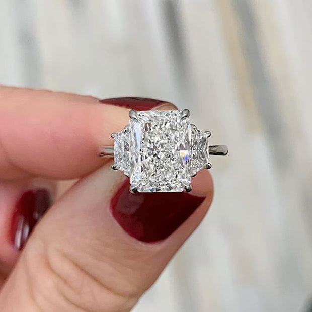 2.50 Ct. Radiant Cut 3 Stone Diamond Engagement Ring H Color VS2 GIA Certified
