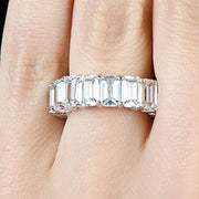 8.00 Ct. Classic Shared Prong Emerald Cut Diamond Eternity Ring  F-G Color VS1 Clarity