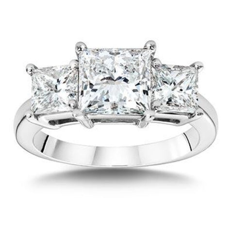 3.00 Ct. Princess Cut 3 Stone Diamond Engagement Ring H Color VS2 GIA Certified