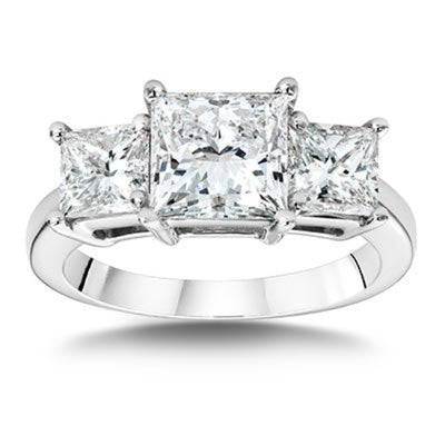 3.00 Ct. Princess Cut 3 Stone Diamond Engagement Ring G Color VS1 GIA Certified