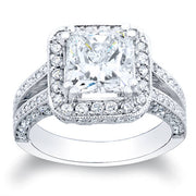 2.11 Ct. Princess Cut Pave Diamond Halo Engagement Ring H,VS2 GIA