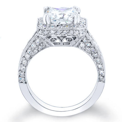 4.50 Ct. Cushion Cut Pave Diamond Halo Engagement Ring I,VVS1 GIA