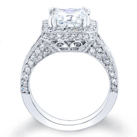 3.14 Ct. Asscher Cut Pave Diamond Halo Engagement Ring G,VS1 GIA