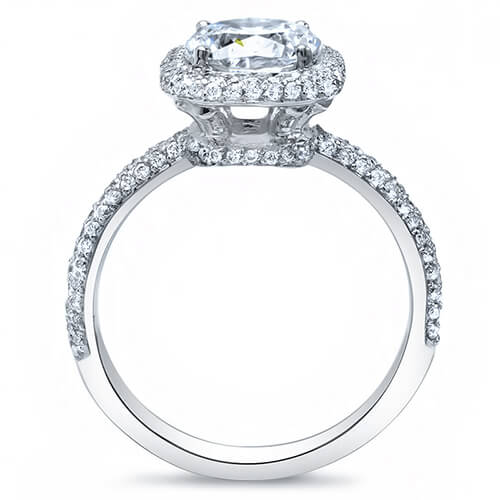 2.12 Ct. Cushion Cut Micro Pave Halo Round Diamond Engagement Ring I,VVS1 GIA