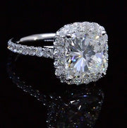 5.75 Ct. Halo Cushion Cut Diamond Engagement Ring G Color SI1 GIA Certified