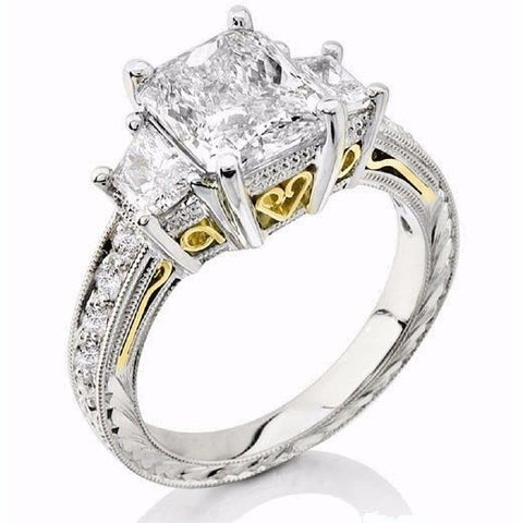 2.20 Ct. Radiant Cut w Trapezoids Hand-carved Diamond Engagement Ring H Color VS1