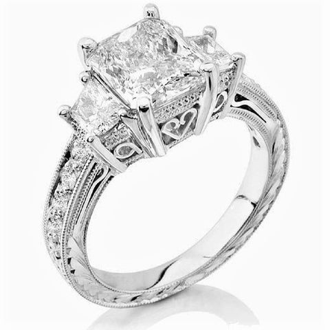 4.00 Ct. Radiant Cut w trapezoids Diamond Ring H Color VS1 Clarity