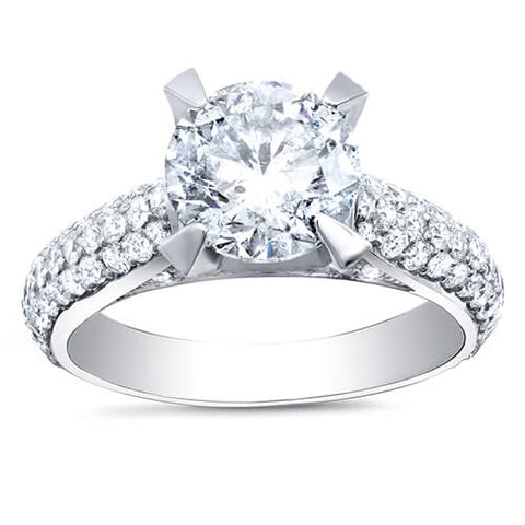4.38 Ct. Round Cut Micro Pave Diamond Engagement Ring G,SI1 EGL