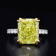 Radiant Cut Fancy Light Yellow Diamond Engagement Ring