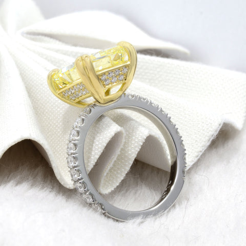 Radiant Cut Fancy Light Yellow Diamond Engagement Ring Side View