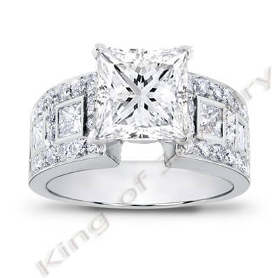 3.44 Ct. Princess Cut Diamond Engagement Ring (EGL Certified)