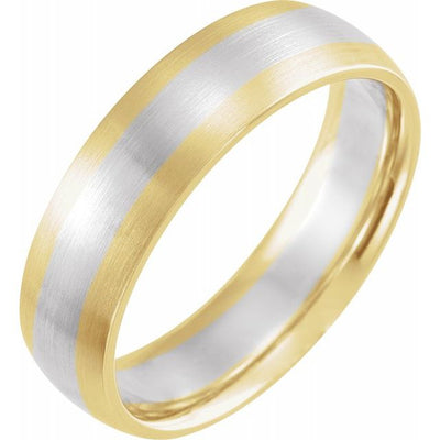 14K White and Yellow Gold 6 mm Half Round Band with Satin Finish