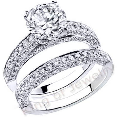 1.74 Ct. Round Cut Diamond Engagement Ring, Bridal Set