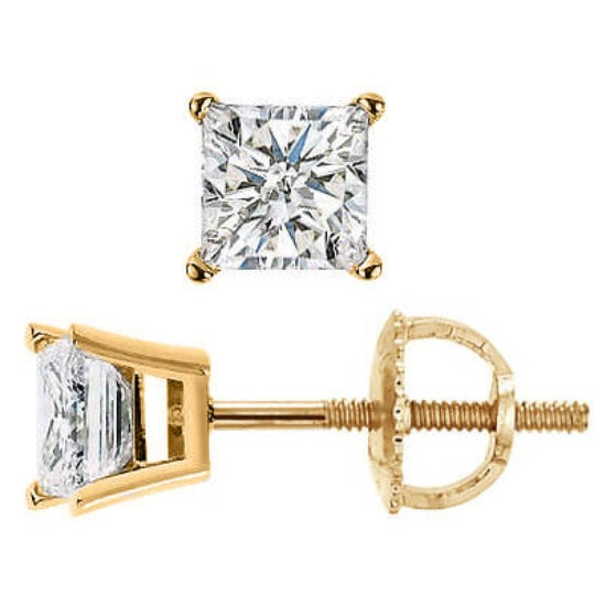 0.70 Ct. Princess Cut Diamond Stud Earrings