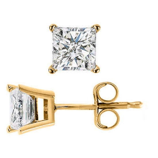 0.90 Ct. Princess Cut Diamond Stud Earrings