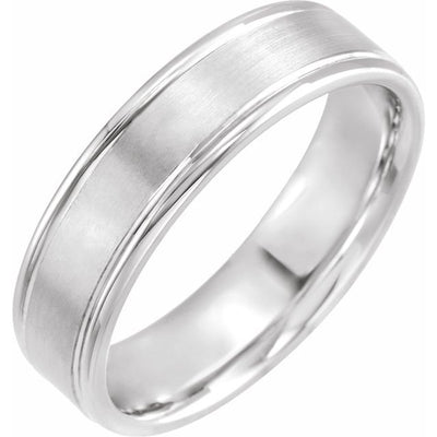 14K White Gold 6 mm Grooved Band