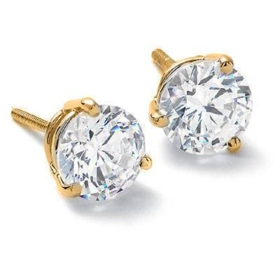 1.00 Ct. Round Brilliant Cut Diamond Stud Earrings, Martini Style