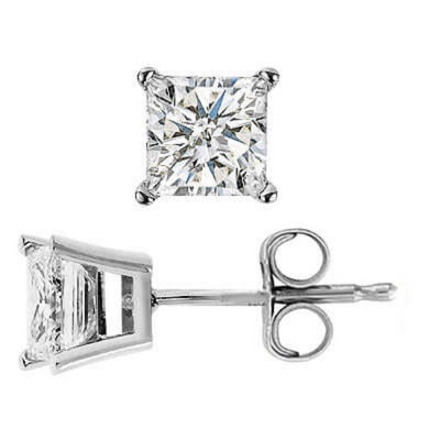 3.00 Ct. Princess Cut Diamond Stud Earrings