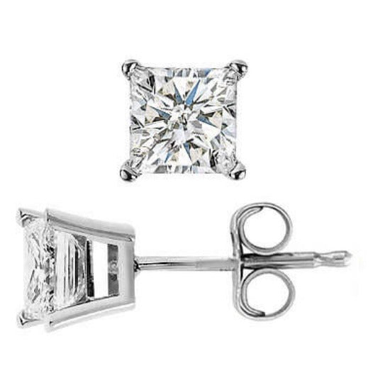 2.00 Ct. Princess Cut Anniversary Diamond Stud Earrings