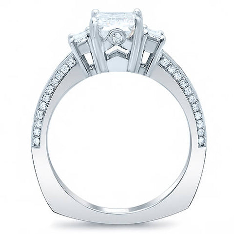 3.25 Ct. Asscher Cut, Baguette & Round Diamond Engagement Ring G,VVS2 GIA