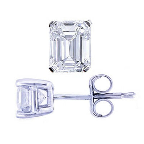 0.90 Ct. Emerald Cut Diamond Stud Earrings