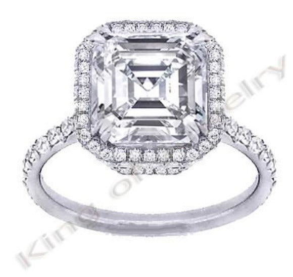 1.90 Ct. French Pave Halo Asscher Cut Diamond Engagement Ring F Color VVS1 GIA Certified