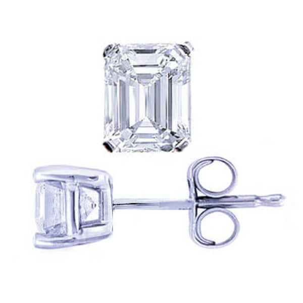2.00 Ct. Emerald Cut Diamond Stud Earrings